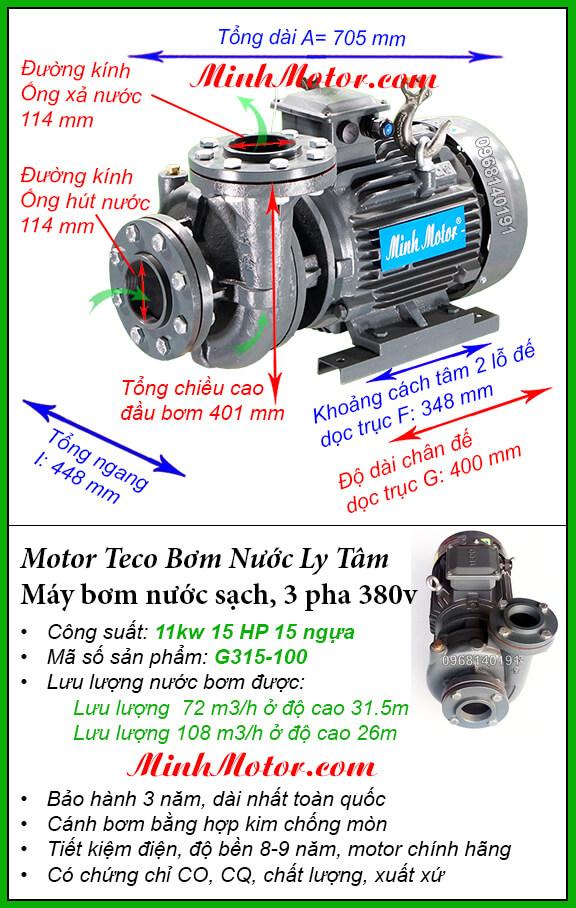 Máy bơm nước 3 pha 5kw G315-100 Đài Loan, hút 108 khối, đẩy cao 31.5m