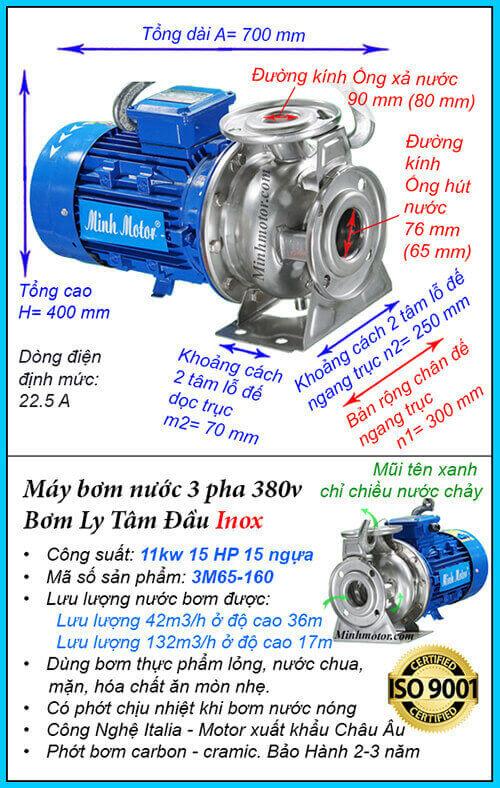 Máy bơm nước 15hp 3M Inox hút cao 56 m, lưu lượng 132 m3/h