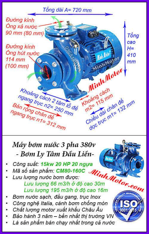 Máy bơm nước 20hp CM80-160C hút 195 mét khối, đẩy cao 30 mét