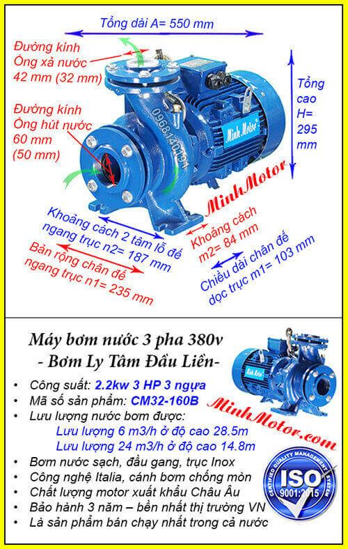 Máy bơm nước 3hp 1 pha, lưu lượng 24 mét khối, bơm cao 28.5 mét, mã CM32-160B