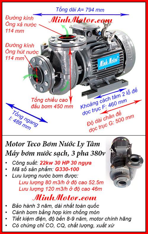 Máy bơm nước 22kw G320-100 Đài Loan, hút 120 khối, đẩy cao 52.5 m