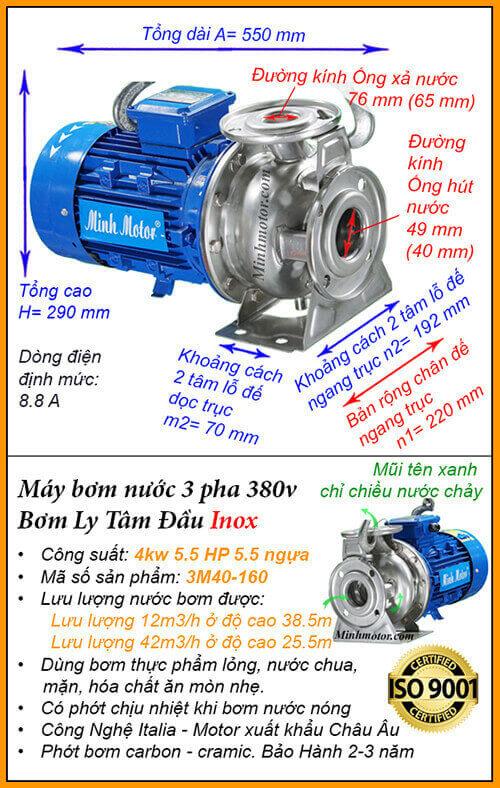 Máy bơm nước 3 pha 5hp 3M Inox hút cao 38.5m, lưu lượng 42m3/h