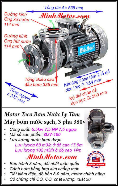 Máy bơm nước 3 pha 5 kw G37-100 Đài Loan, hút 102 khối, đẩy cao 17.5 m