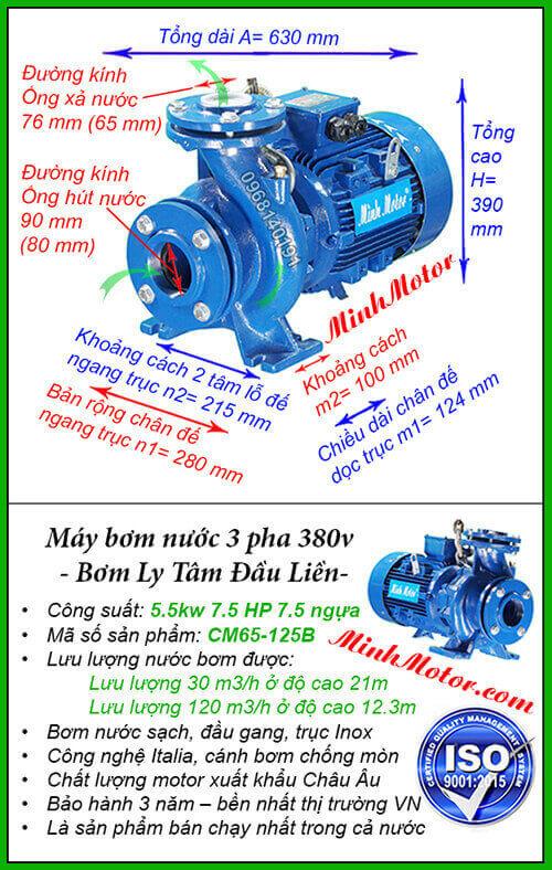 Máy bơm nước 3 pha 5kw CM65-125B hút 120 mét khối, đẩy cao 21 mét