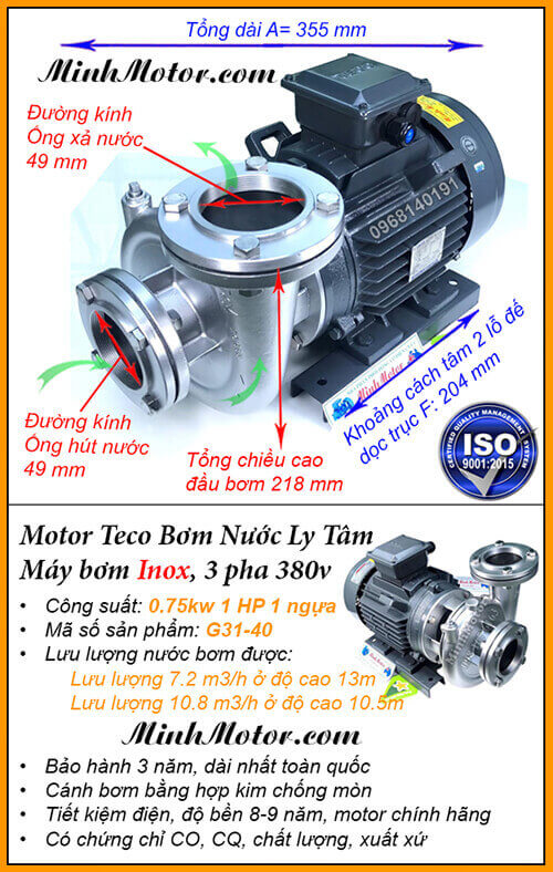 Bơm nước Teco 1Hp 0.75Kw đầu inox G31-40, lưu lượng 10.8 khối, đẩy cao 13m