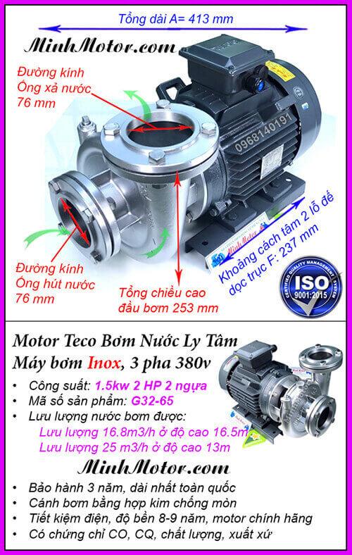 Bơm nước Teco 3HP 2.2kw đầu inox G33-80, lưu lượng 46 khối, đẩy cao 16m