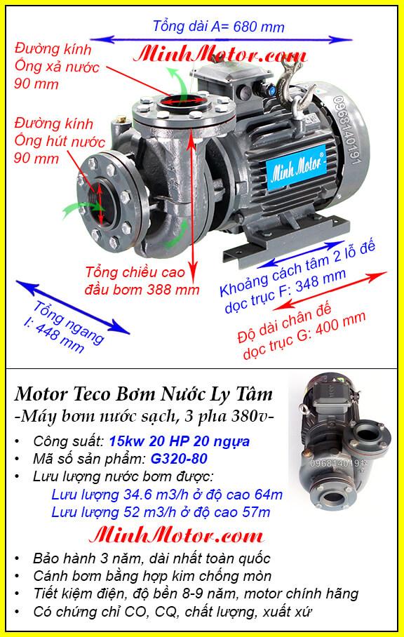 Bơm Teco 20Hp 15Kw G320-80 lượng nước 52 khối, bơm cao được 64m
