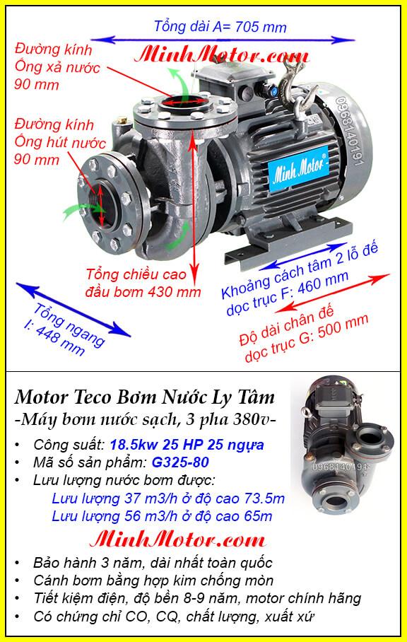 Bơm Teco 25Hp 18.5kw G325-80 lượng nước 56 khối, bơm cao được 73.5m