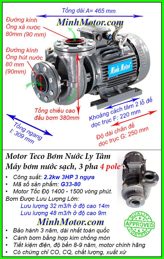 Bơm Teco 3HP 4 pole lưu lượng cực lớn