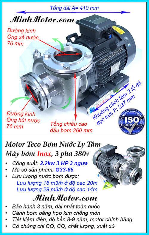 Bơm nước Teco 3HP 2.2kw đầu inox G33-65, lưu lượng 29 khối, đẩy cao 20m