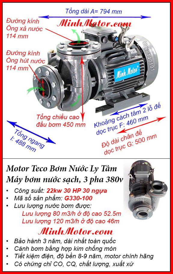 Bơm Teco 25Hp 22Kw G330-100, lưu lượng 120 m3/h, cột áp 52.2m
