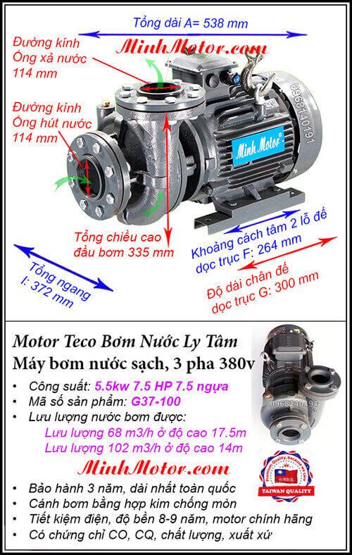 Bơm Teco 5.5kw G37-100, lưu lượng 102 m3/h, cột áp 17.5m