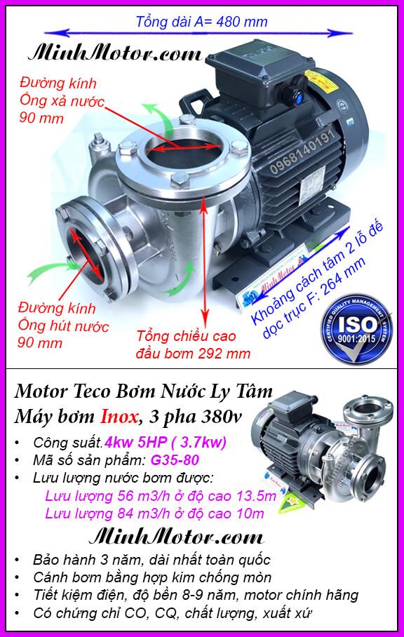 Bơm nước Teco 5Hp 3.7kw đầu inox G35-80, lưu lượng 84 khối, đẩy cao 13.5m