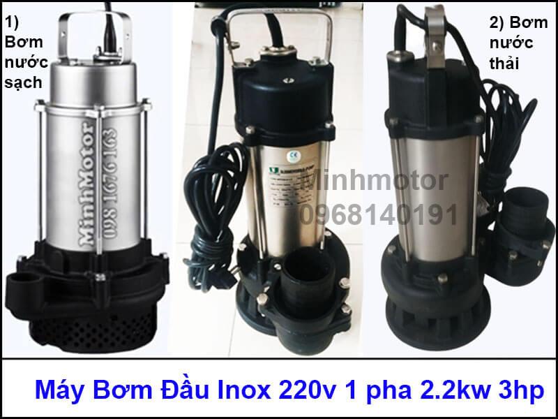 Máy bơm đầu inox 220v 1 pha 1.5kw 2hp