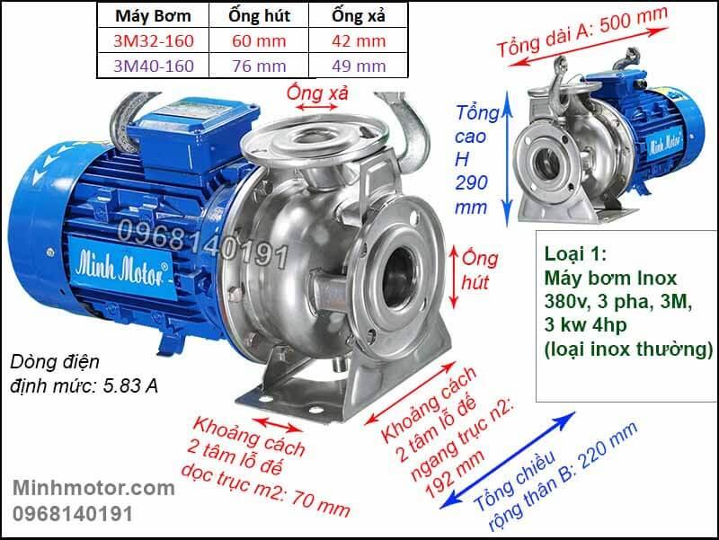 Máy bơm inox 3kw 4hp, 3M, Teco, kiểu Ý, 380v, 2 pole, 3 pha