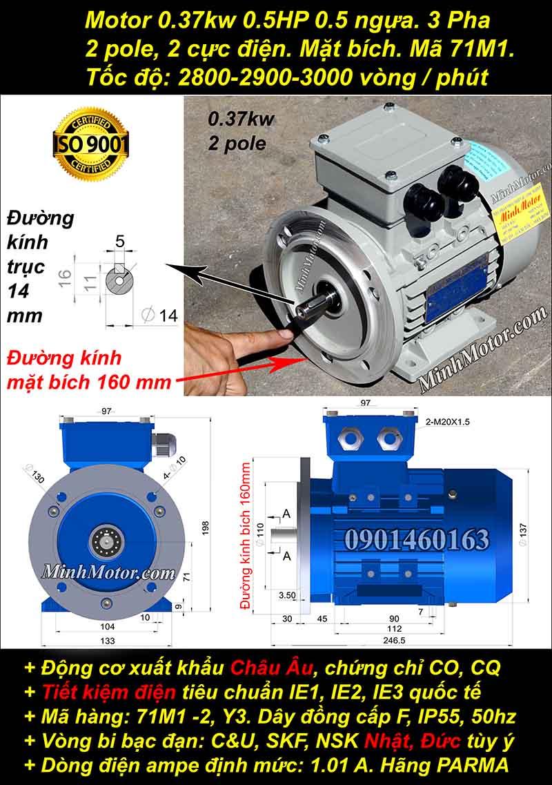 Động cơ 0.5HP 0.37kW 2900-3000 vòng 3 pha, mặt bích