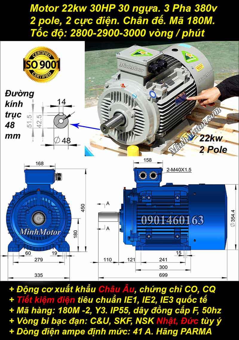 Bản Vẽ motor 22Kw 30hp 3 pha 2 Cực Điện Chân đế