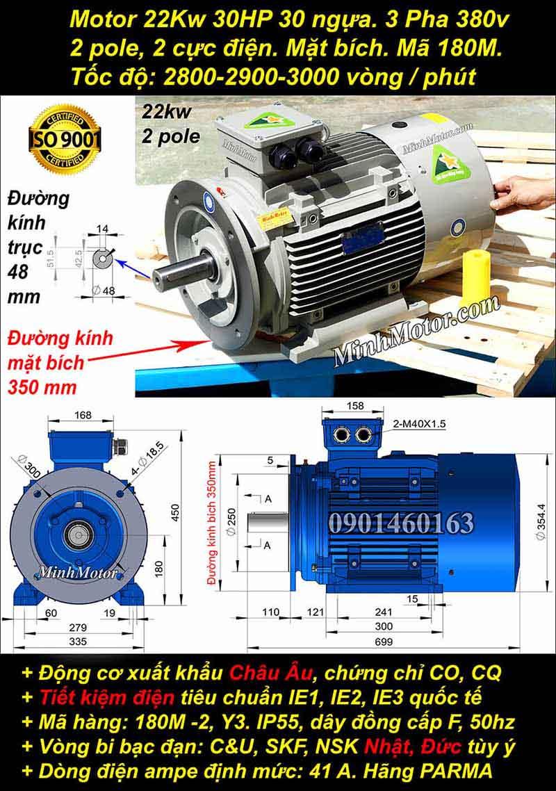 Kích thước motor 30Hp 22Kw 380v 2 Cực bích