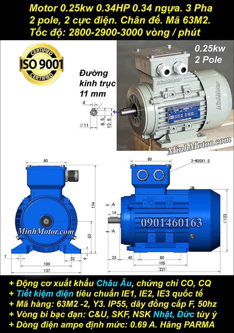 Động cơ 0.34HP 0.25kW 2900-3000 vòng 3 pha, chân đế