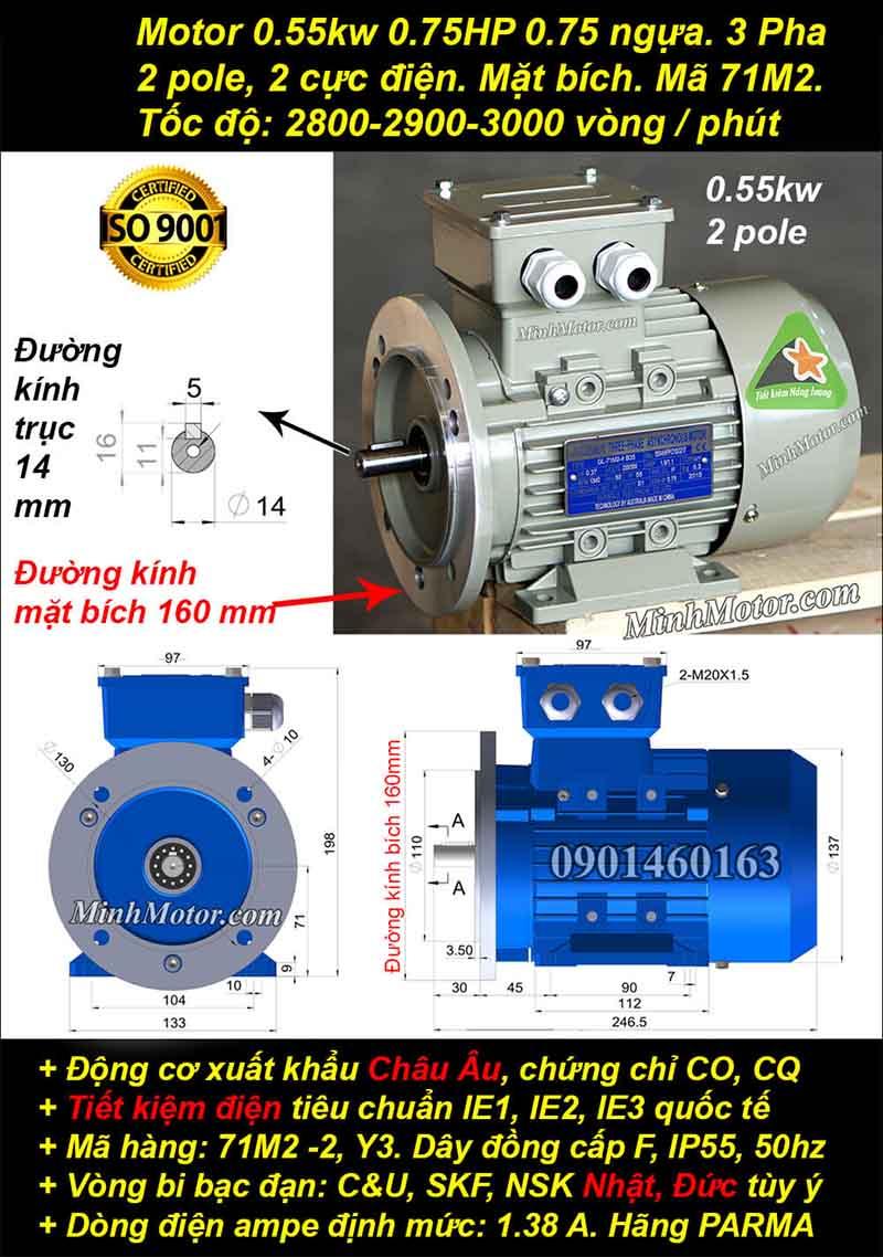 Động cơ 0.75HP 0.55kW 2900-3000 vòng 3 pha, mặt bích