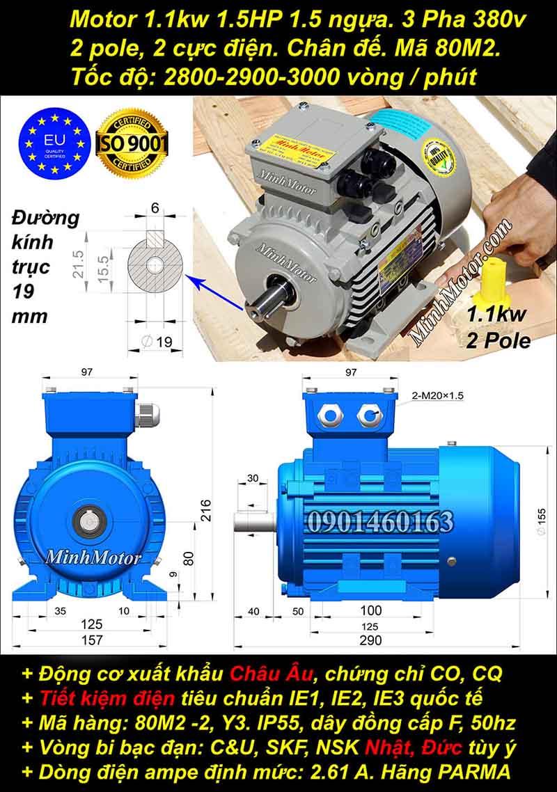 Động cơ 1.5HP 1.1kW 2900-3000 vòng 3 pha, chân đế