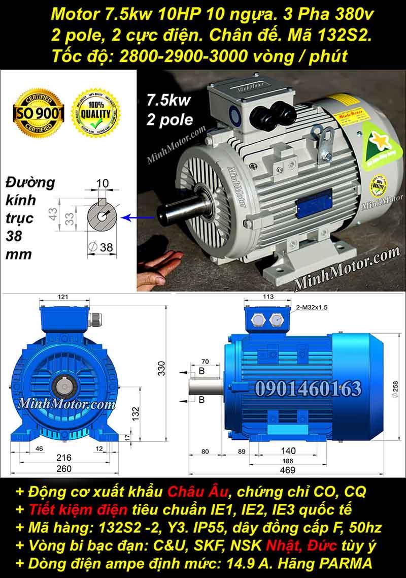 Động cơ 10HP 7.5kW 2900-3000 vòng 3 pha, chân đế