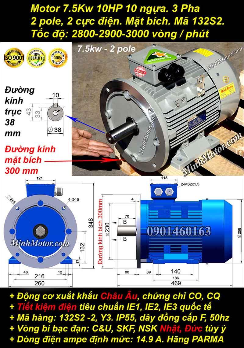 Động cơ 10HP 7.5kW 2900-3000 vòng 3 pha, mặt bích