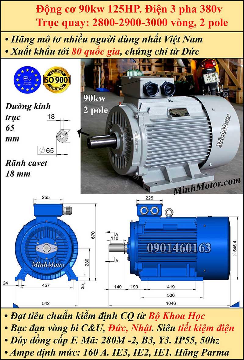 Động cơ 125HP 90kW 2900-3000 vòng 3 pha, chân đế