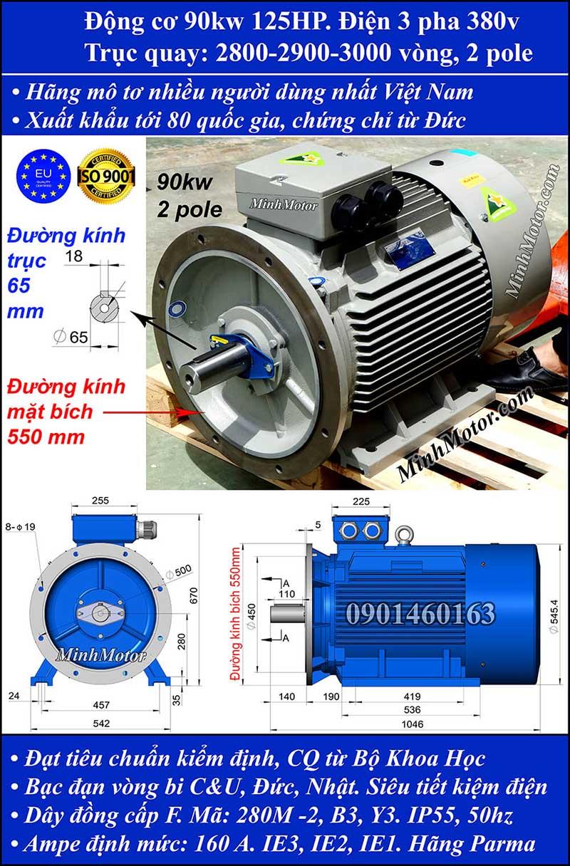 Động cơ 125HP 90kW 2900-3000 vòng 3 pha, mặt bích