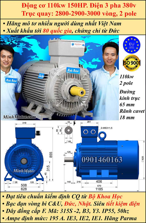 Động cơ 150HP 110kW 2900-3000 vòng 3 pha, chân đế