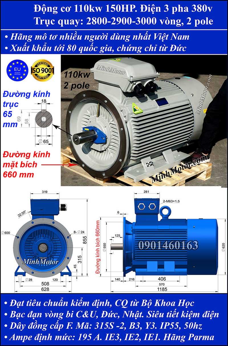 Động cơ 150HP 110kW 2900-3000 vòng 3 pha, mặt bích