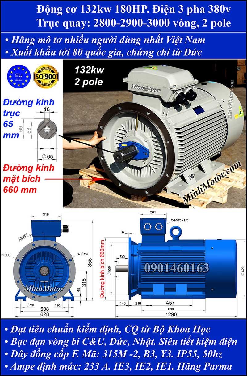 Động cơ 180HP 132kW 2900-3000 vòng 3 pha, mặt bích