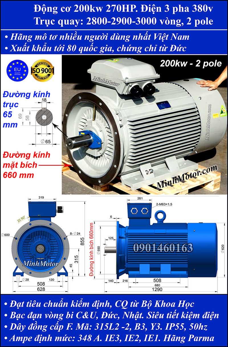 Thông số kỹ thuật động cơ 270HP 200kW 2900-3000 vòng 3 pha, mặt bích