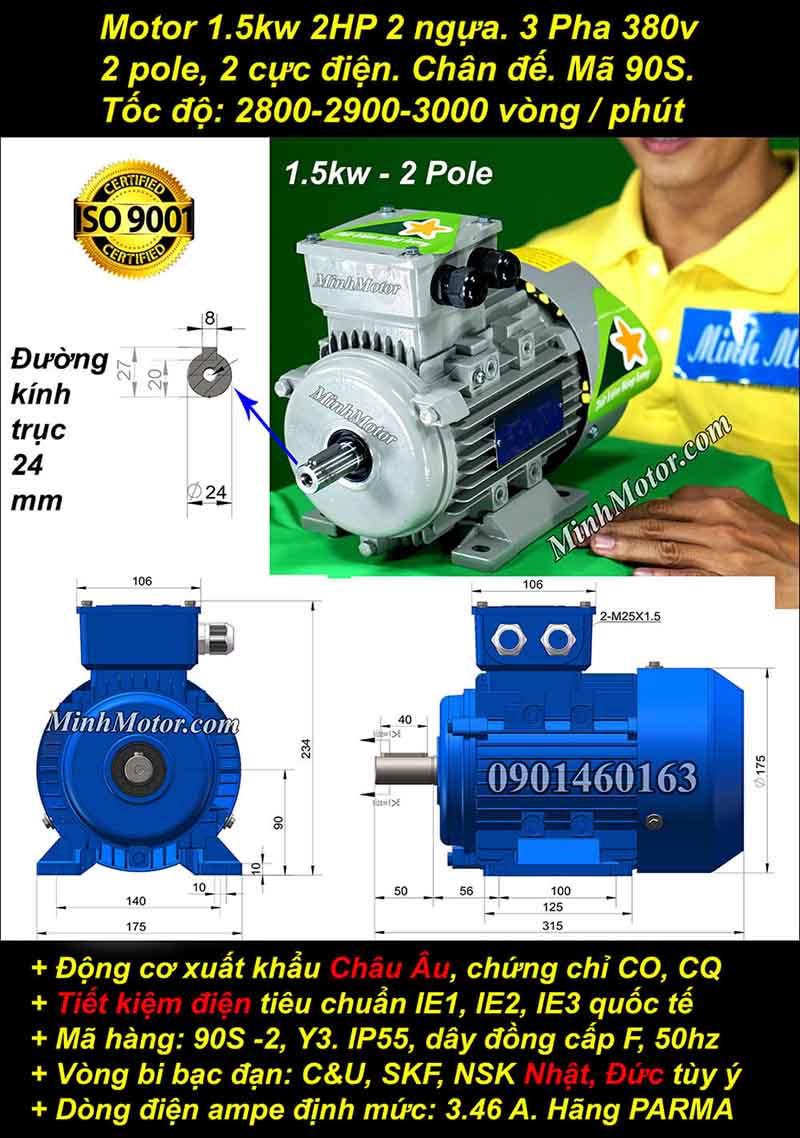 Động cơ 2HP 1.5kW 2900-3000 vòng 3 pha, chân đế