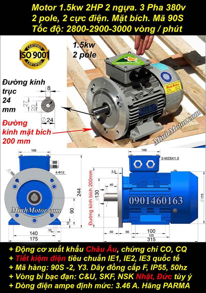 Động cơ 2HP 1.5kW 2900-3000 vòng 3 pha, mặt bích
