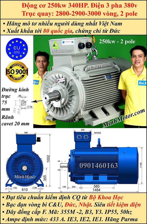 BBản vẽ động cơ 340HP 250kW 2900-3000 vòng 3 pha, chân đế