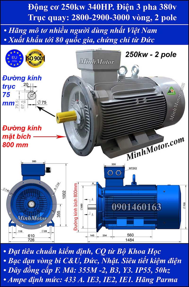 Thông số kỹ thuật động cơ 340HP 250kW 2900-3000 vòng 3 pha, mặt bích