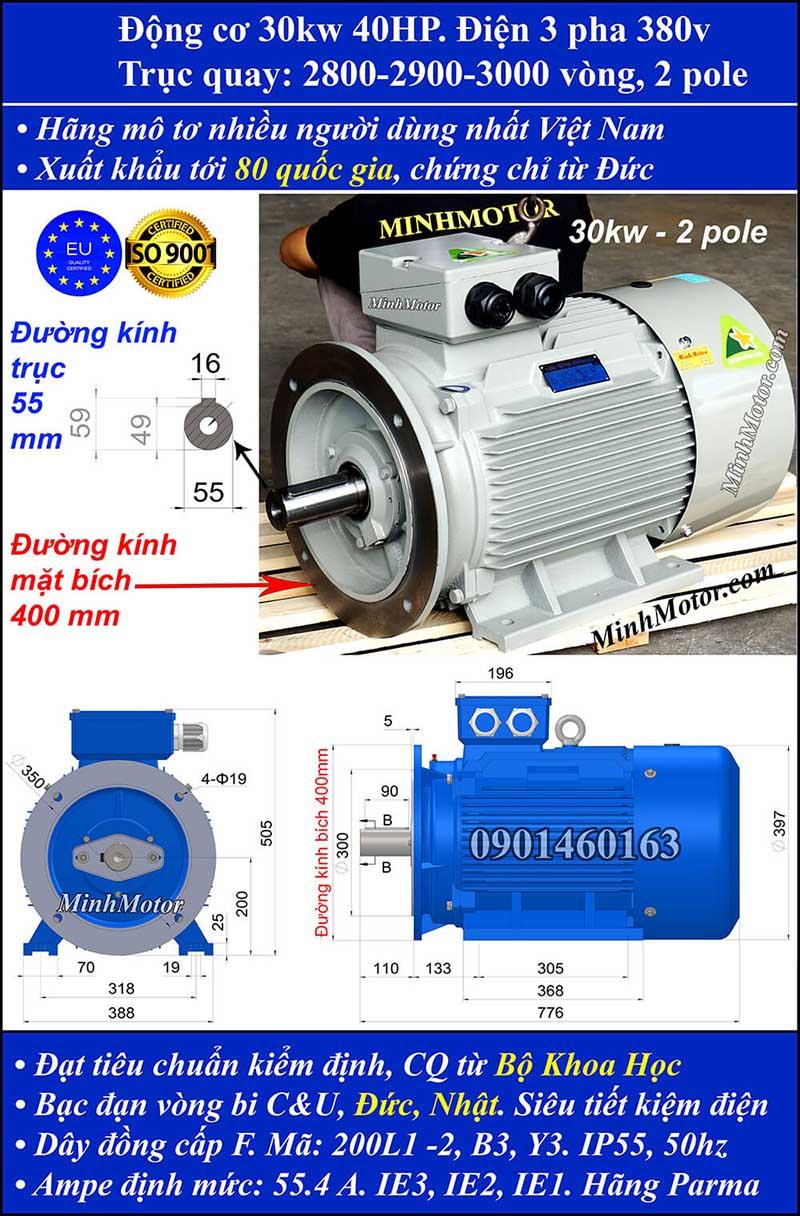 Động cơ 40HP 30kW 2900-3000 vòng 3 pha, mặt bích