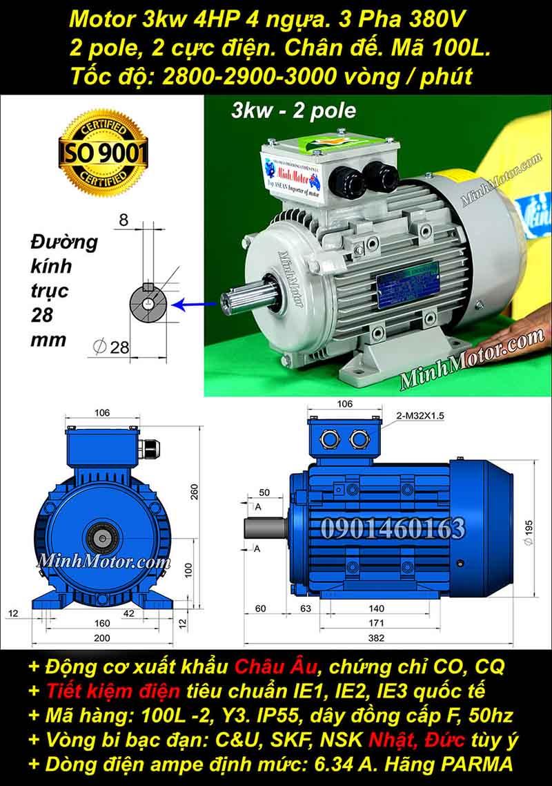 Động cơ 4HP 3kW 2900-3000 vòng 3 pha, chân đế