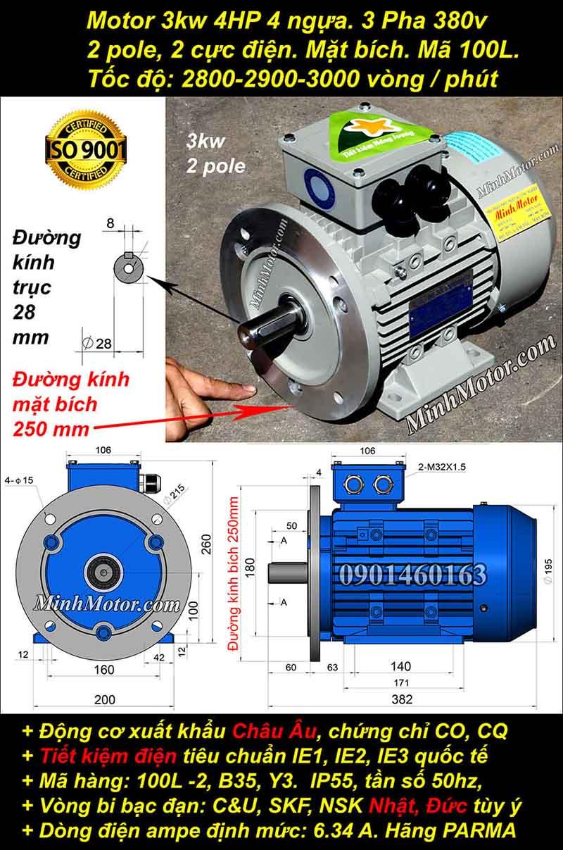 Động cơ 4HP 3kW 2900-3000 vòng 3 pha, mặt bích