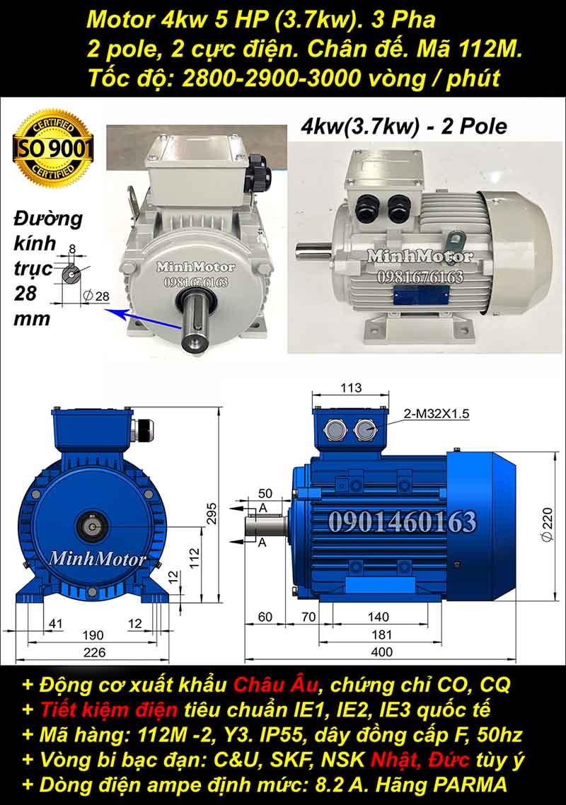 Động cơ 5HP 3.7kW 2900-3000 vòng 3 pha, chân đế
