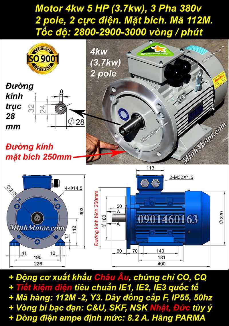 Động cơ 5HP 3.7kW 2900-3000 vòng 3 pha, mặt bích