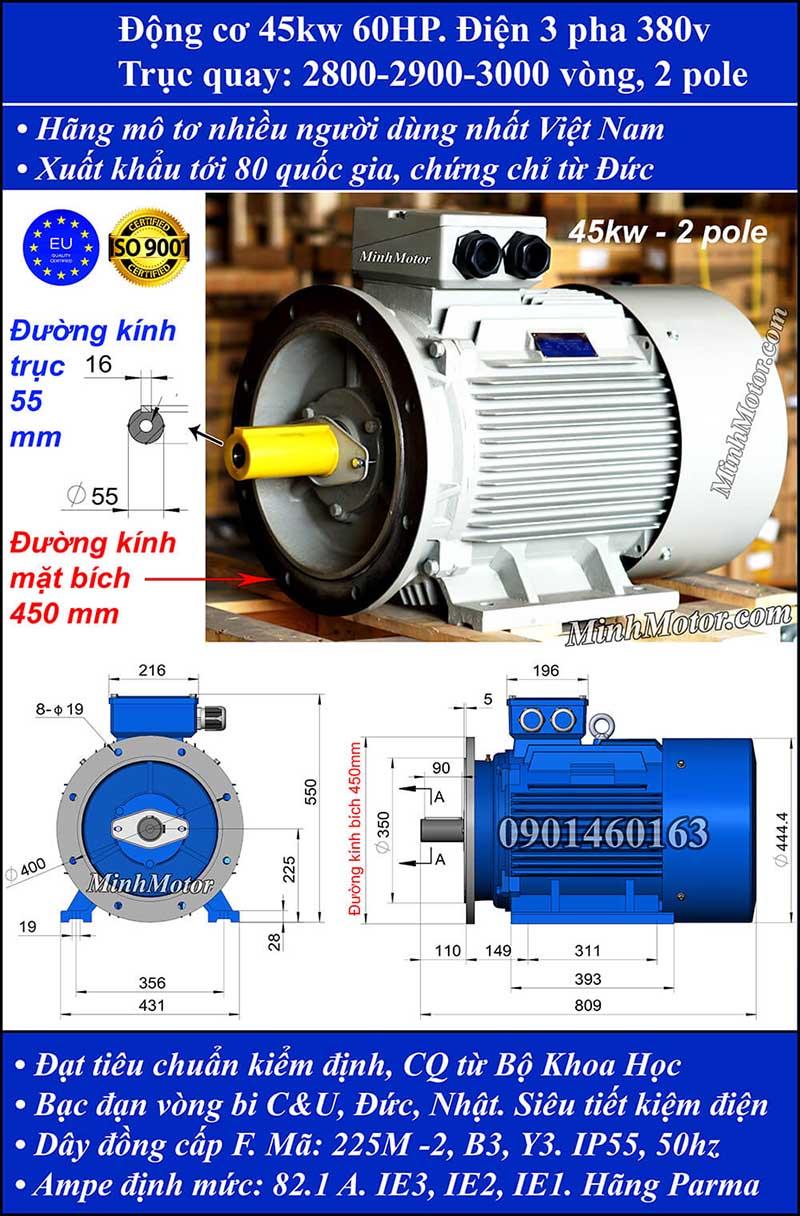 Thông số kĩ thuật bản vẽ động cơ điện 60Hp 45Kw 2 Cực điện mặt bích