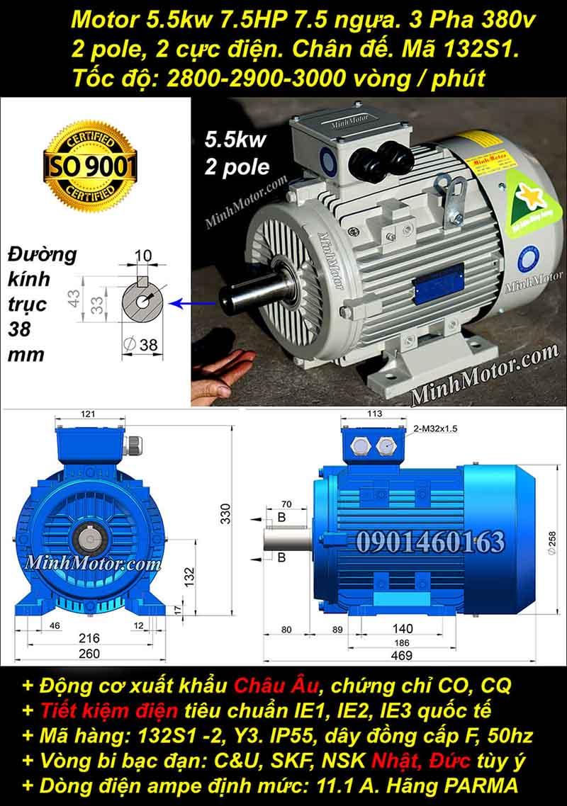 Động cơ 7.5HP 5.5kW 2900-3000 vòng 3 pha, chân đế