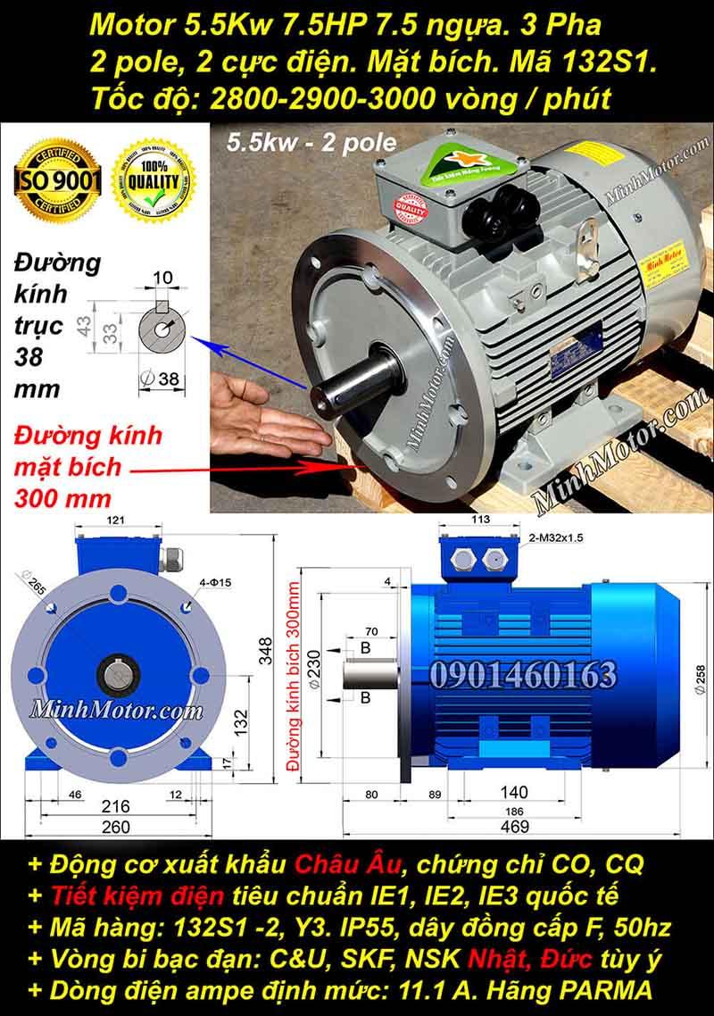 Động cơ 7.5HP 5.5kW 2900-3000 vòng 3 pha, mặt bích