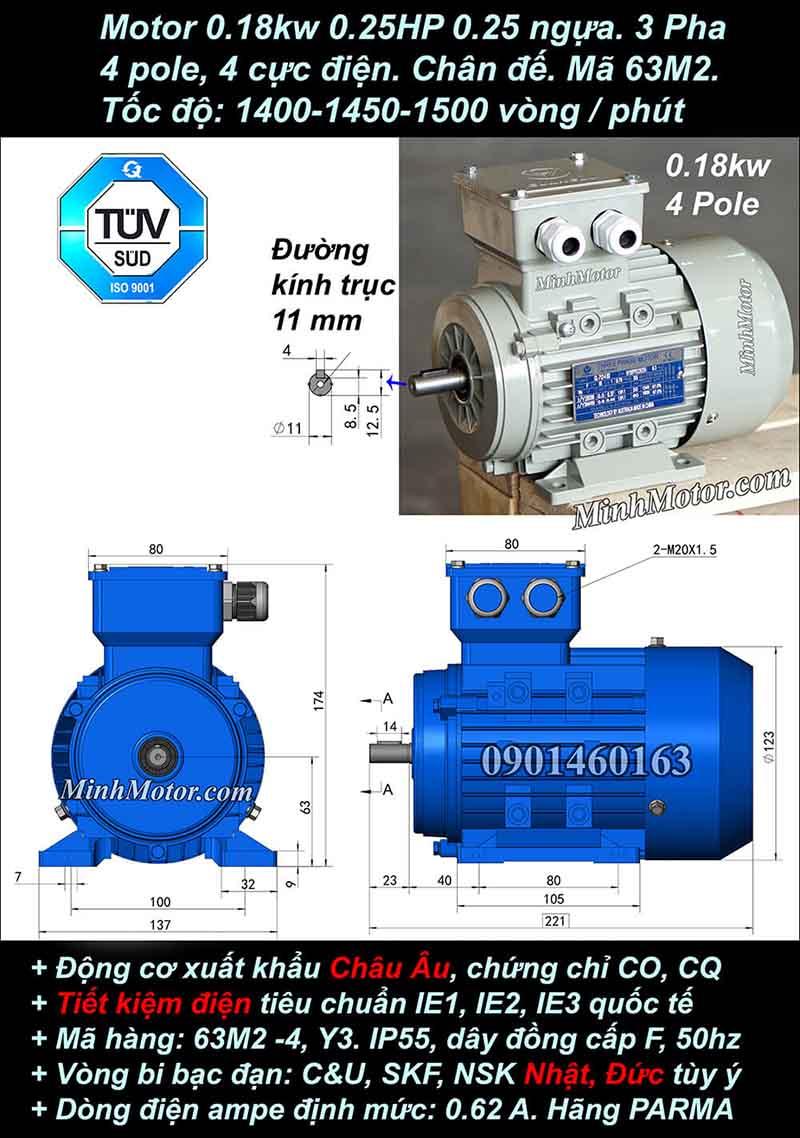 Motor 0.25HP 0.18kW 1400-1500 vòng phút tua chậm, chân đế