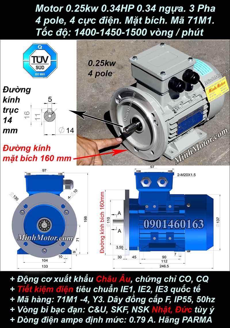 Motor 0.34HP 0.25kW 1400-1500 vòng phút tua chậm, mặt bích
