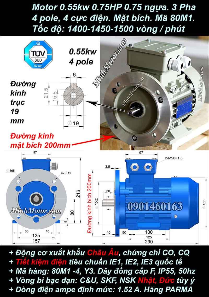 Motor 0.75HP 0.55kW 1400-1500 vòng phút tua chậm, mặt bích