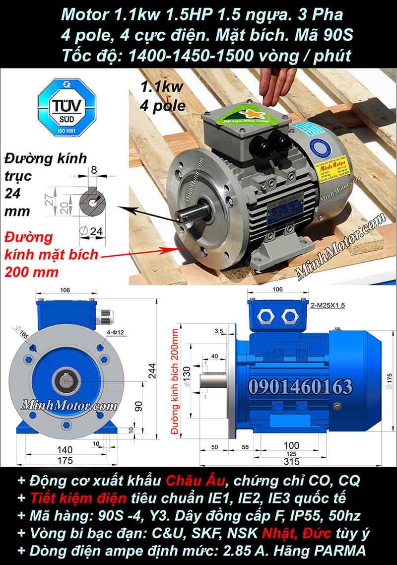 Motor 1.5HP 1.1kW 1400-1500 vòng phút tua chậm, mặt bích