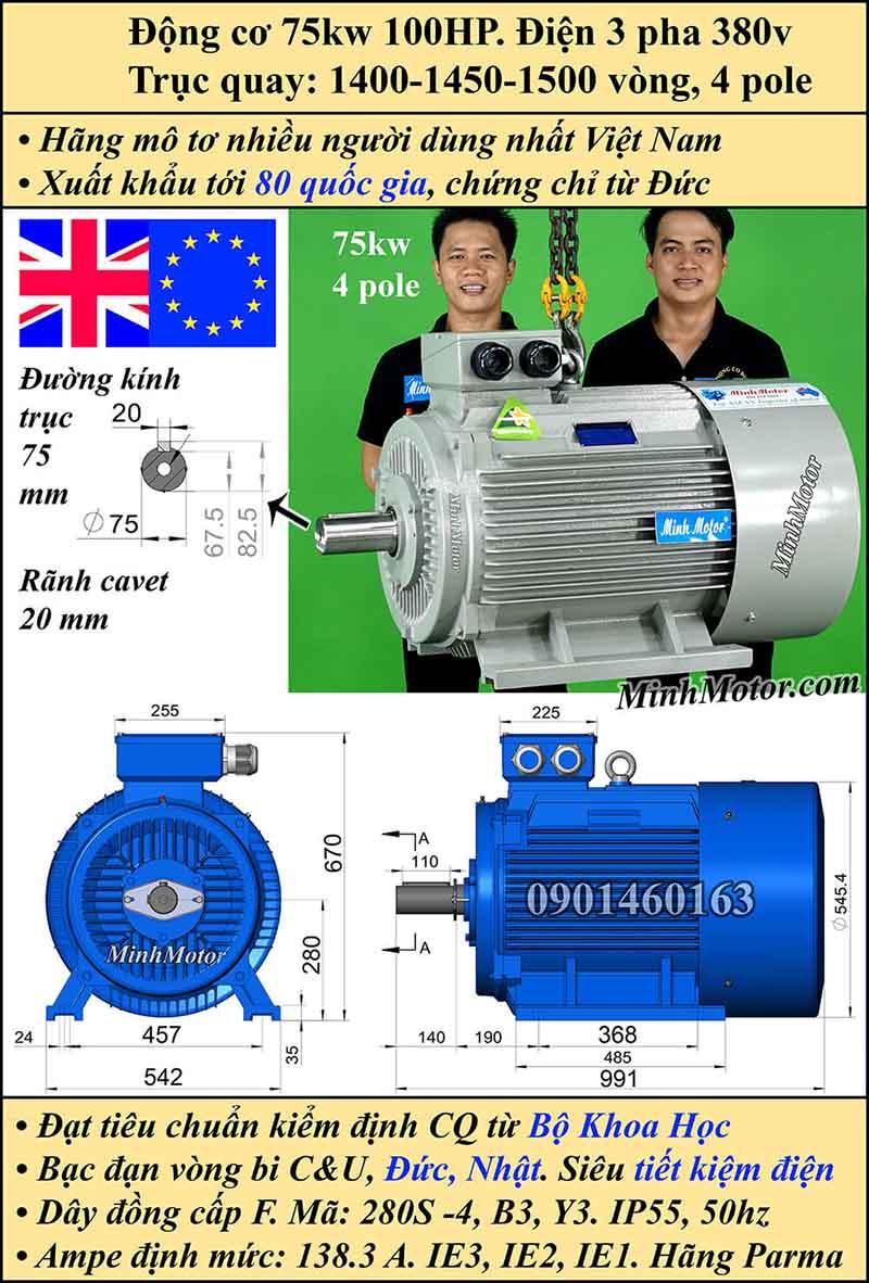 Motor 75HP 100kW 1400-1500 vòng phút tua chậm, chân đế